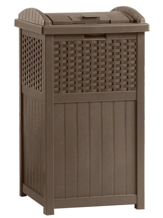 Suncast GHW1732 Resin Wicker Trash Hideaway